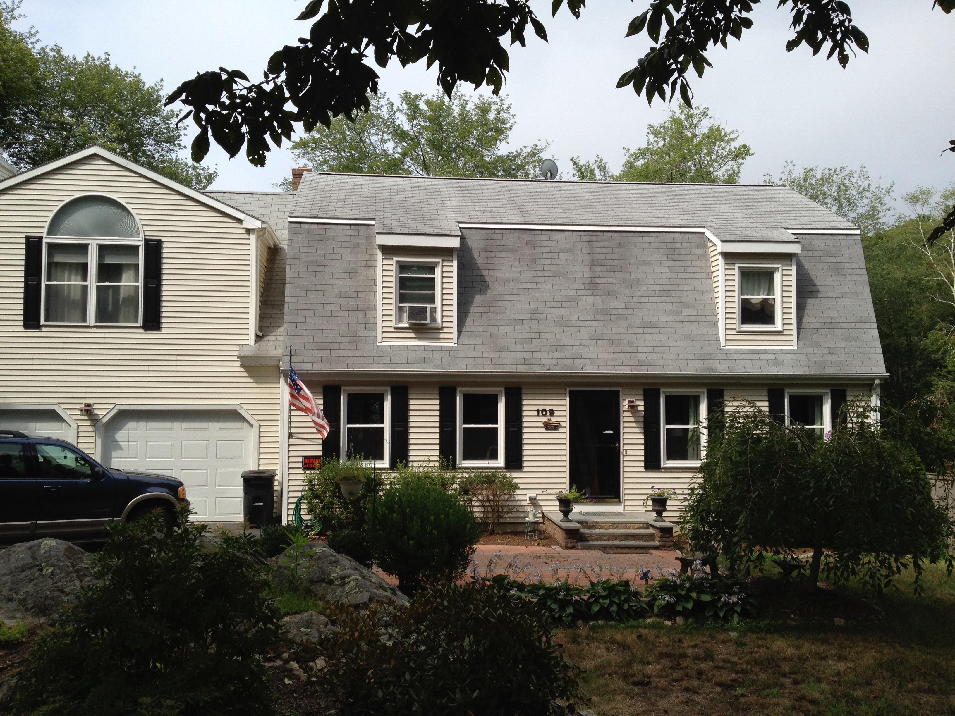 Removed Heavy Black Algae From Roof And Green Algae From Vinyl Siding And  3 Tab Asphalt Shingles In Stonington, Connecticut.