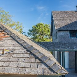 Cedar roof replacement on Narrows Island, Guilford, CT